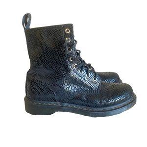 Dr Martens 1460 Black Hi Shine Snake 8-Eye Boots